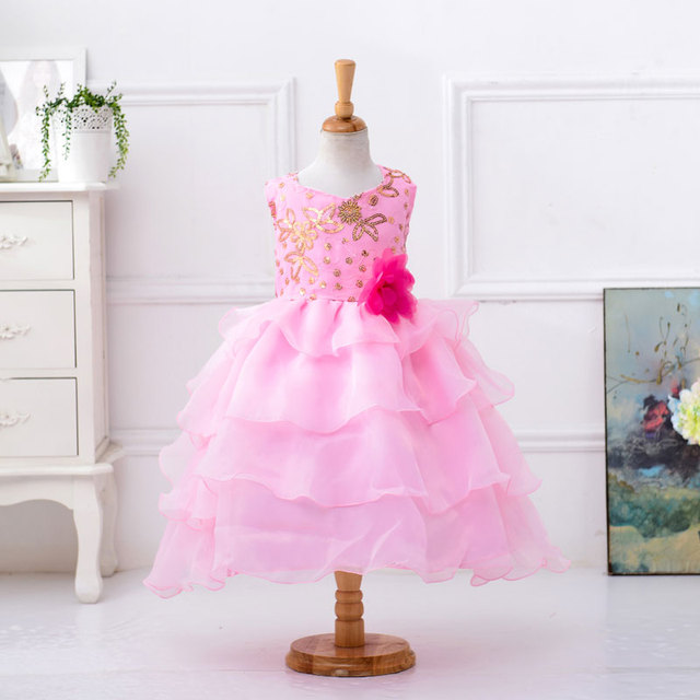 Wholesale Lovely Pink Beading Pageant Dresses For Little Girls Kids Prom  Dresses With Tiered Free DHL 0c9d0567ab2f