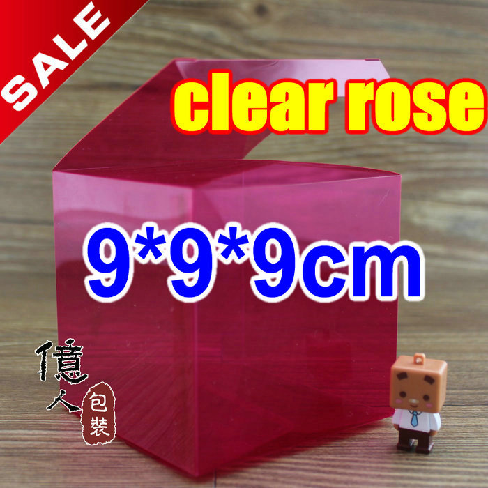 10 pcs/lot9*9*9cm clear rose purple green color box / gifts & crafts / transparent candy container / chocolate packaging boxes