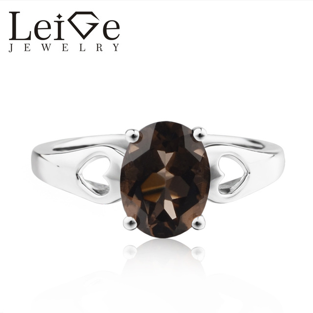 b61b78503096e LeiGe Jewelry Natural Smoky Ring Promise Rings Oval Cut Brown Gemstone Ring  925 Sterling Silver Rings Customized Ring-in Rings from Jewelry & ...