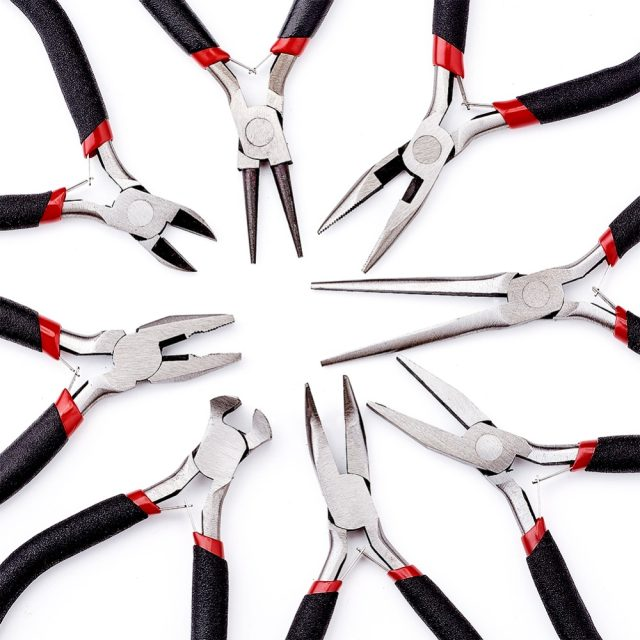 8pcs-set-Jewelry-Pliers-Tool-Carbon-Steel-Black-Pliers-Sets-For-Beading-DIY-Making-Hand-Flat