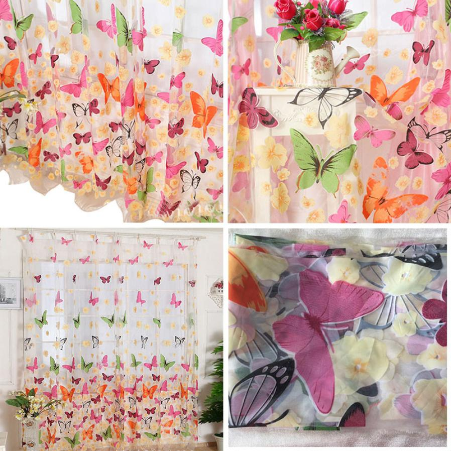 Hot selling Butterfly Print Sheer Window Panel Curtains Room Divider New for living room bedroom 200cm x 100 cm t426