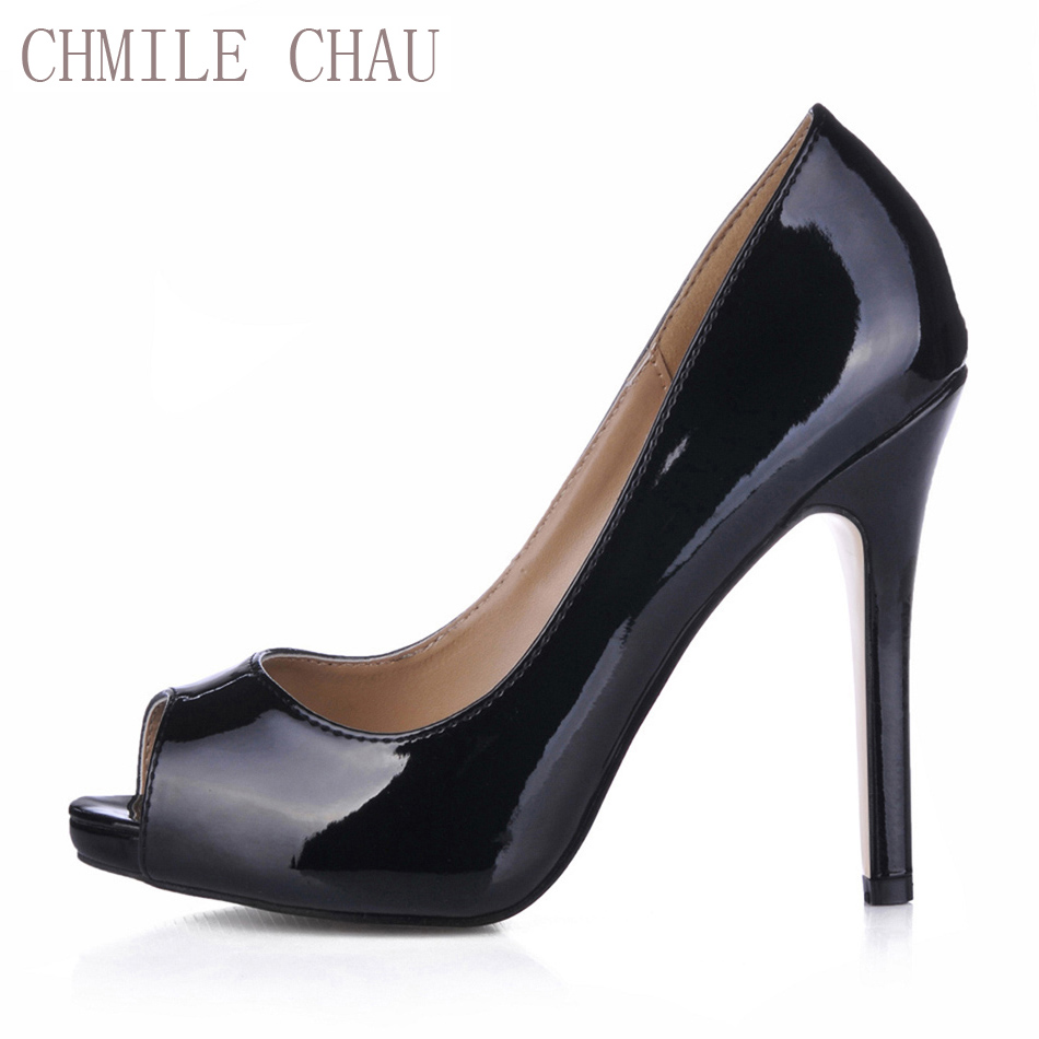 CHMILE CHAU Sexy Dress Party Shoes Women Peep Toe Thin High Heels Sweet Dating Bridal Ladies Pumps Zapatos Mujer Plus Sizes T1 real women pumps thin high heels ladies party shoes slip on butterfly knot cheap modest zapatos mujer sorbern wedding shoes sexy