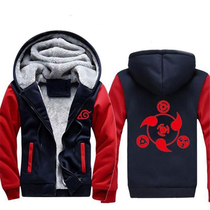 Dropshiping Naruto Hoodie New Anime Uchiha Sasuke Cosplay Coat Uzumaki Naruto Jacket WinterThick