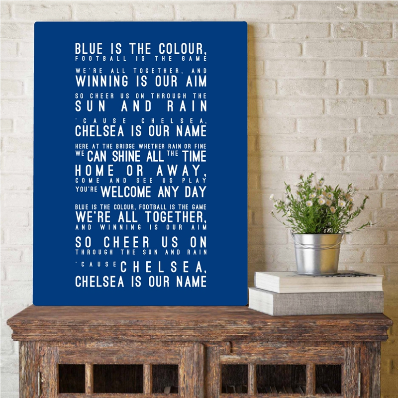 Chelsea FC Inspired Song Lyrics Art Painting Wall Pictures , Blue is the Colour Lyrics Typography Canvas Art Prints Home Decor image