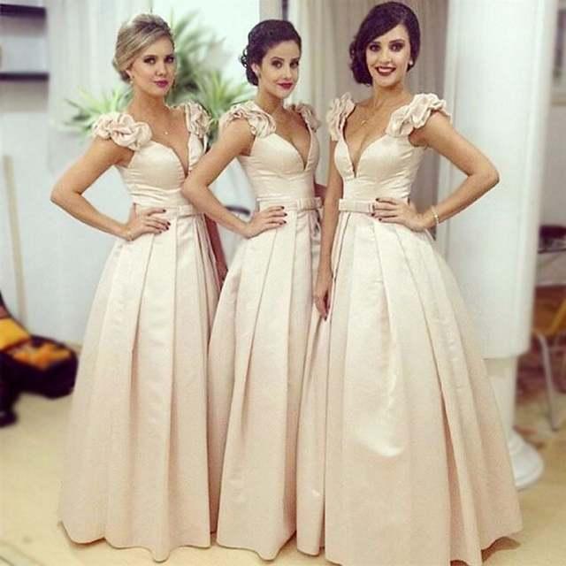 Gorgeous Beige Largo Vestido De Dama De Oriente Medio Largos Vestidos De Dama De Honor Flor 3d Correa De Arabia Saudita De Boda Largo Vestido De Las