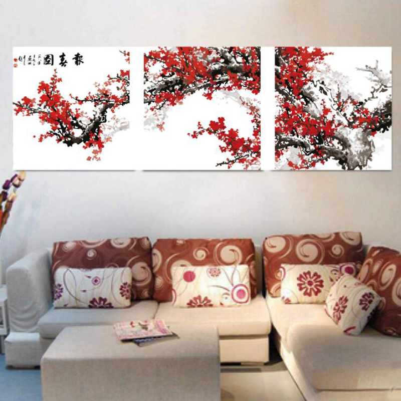 Plum Blossom - Triptych Picture Vintage Home Decor Painting By Numbers Wall Pictures For Living Room Coloring By Numbers