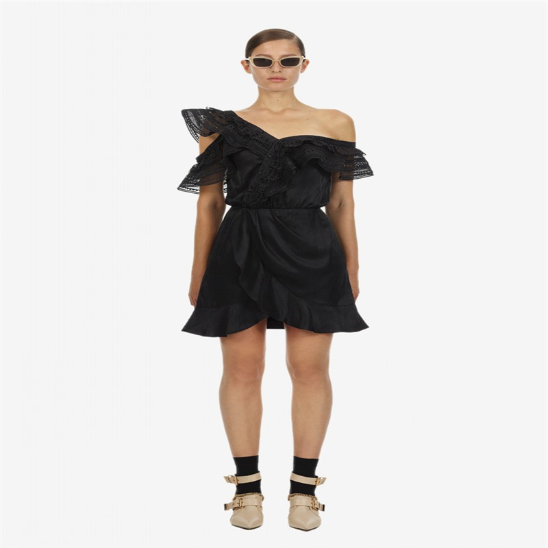 2019 New arrive One shoulder black women dress