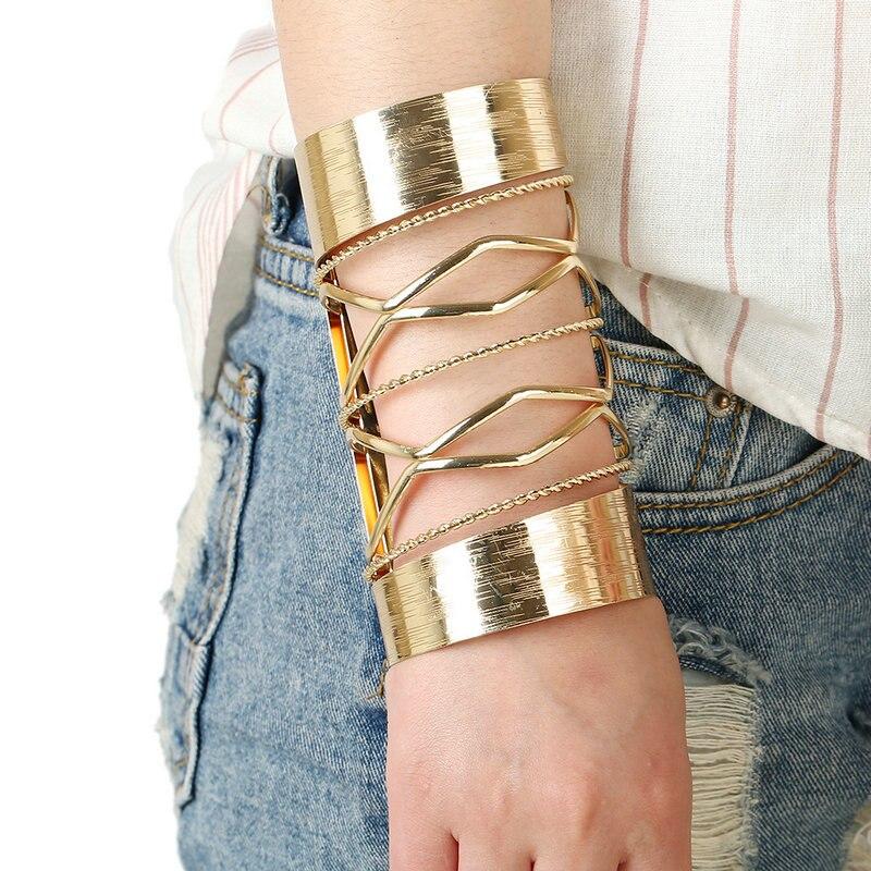 Fashion Brand Designer Jewelry Exaggerate Cuff Arm Bangles For