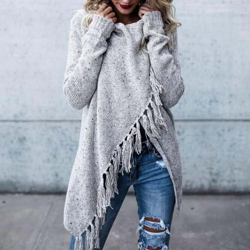 Long Knitted Cardigans Pullovers Scarf Sweater Collar Tassel-Button Shawl-Style Women Autumn