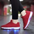 Fashion Women Light Shoes Ladies Canvas LED Luminous Shoes Light Up Casual Shoes Led Basket USB Charge Glow