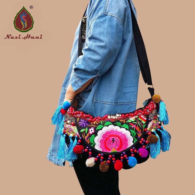 HOT Original designer embroidery tassel women Shoulder bags Ethnic black canvas handmade pompon Vintage travel Crossbody