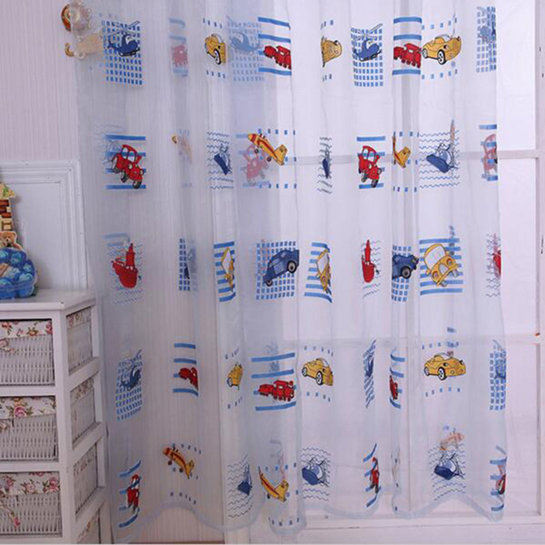 Kid car curtains - Kids Car Pattern Voile Panel Sheer Door Room Drape Window Curtains Factory Directly Sale Cute Lovely