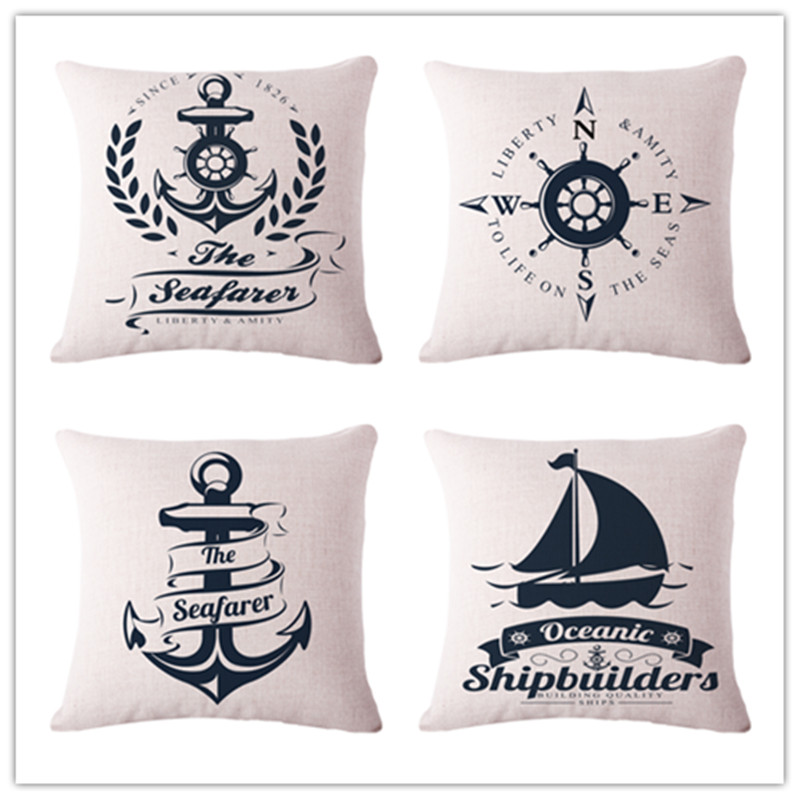 funny cartoon Beacon vessel Cushion printed linen Family affection Sofa Car Seat family Home Decorative Throw Pillow