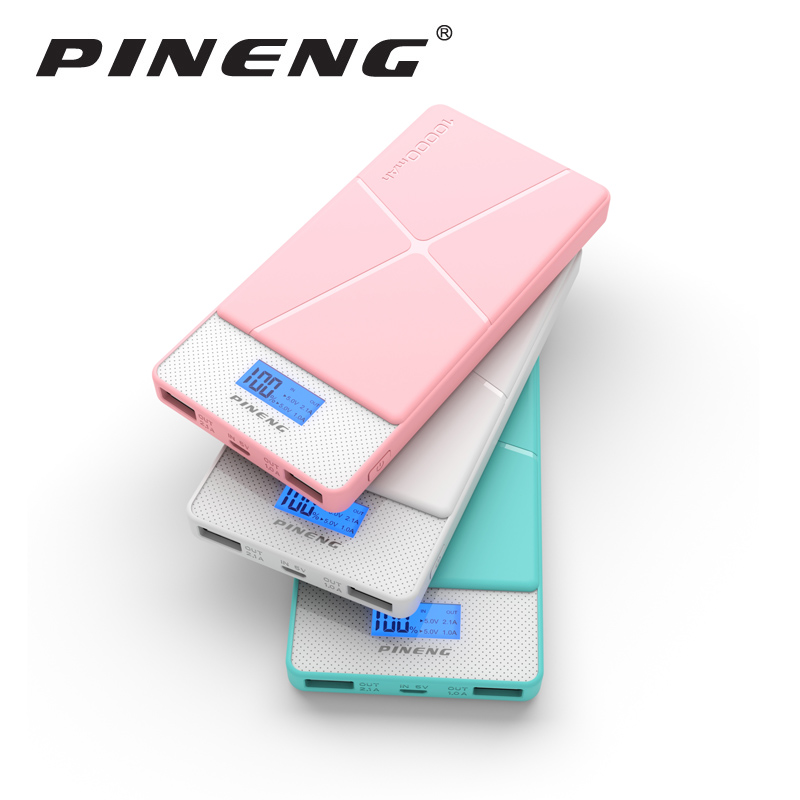Pineng Power Bank 10000mAh LED External Battery Portable Mobile Fast Charger Dual USB Powerbank for iPhone