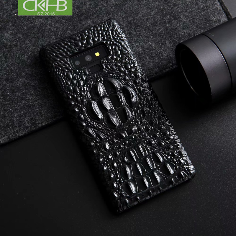 CKHB Real caja de cubierta de cuero para Samsung galaxy note 9 8 3D cocodrilo patrón teléfono caso para galaxy S9 más casos de la contraportada
