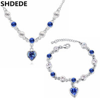 Women Fashion Jewelry Sets Necklace Bracelets Blue Crystal From Swarovski High Quality Accessories Heart Pendants Gift