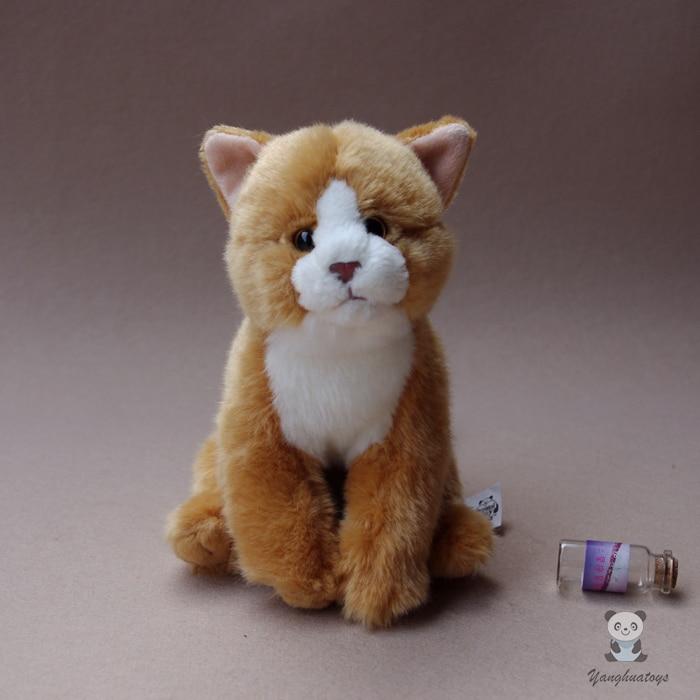Плюшевые игрушки для детей с имитацией кошки, мягкие игрушки с животными, подарки, хорошее качество, желтые кошки