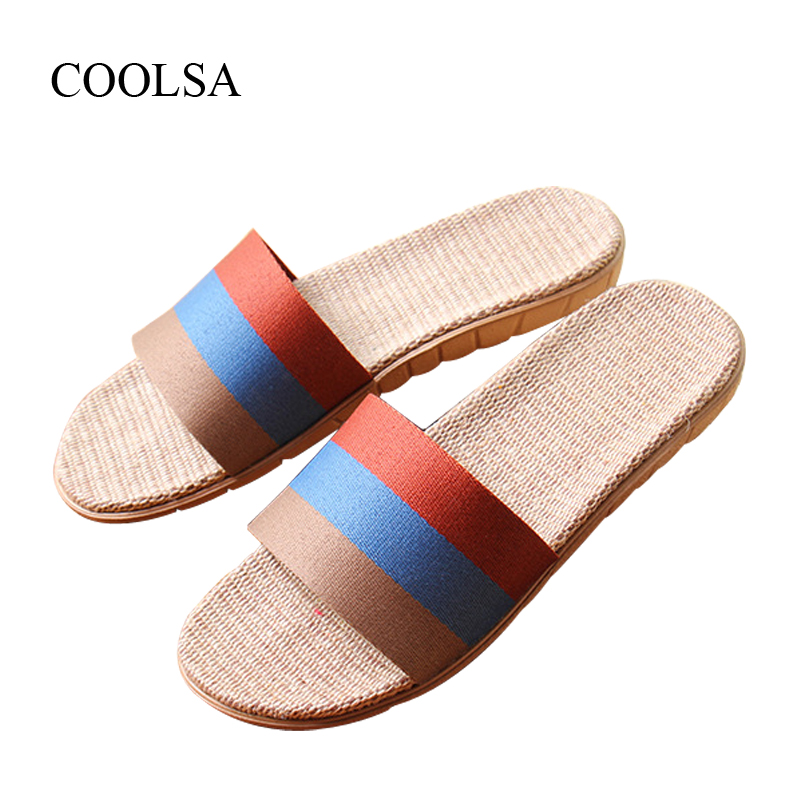 COOLSA New Arrival Men's Striped Anti-slip Slippers Lightweight Breathable Fashion Beach Slippers Home Linen Slippers for Men