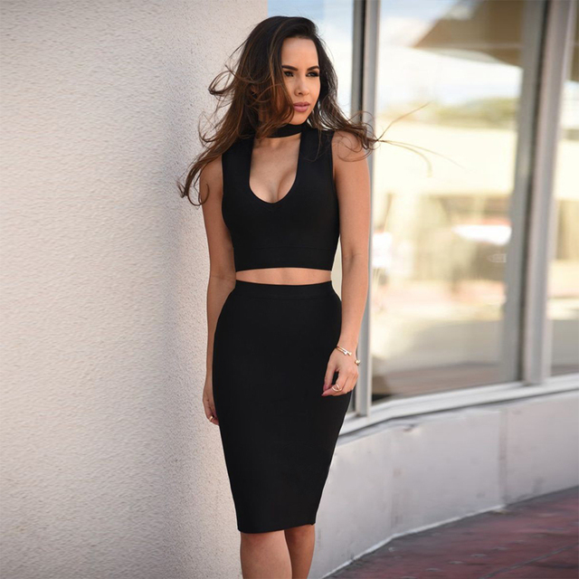 bb7a08826bed 2018 Newest Spring Bandage Dress Women Celebrity Party Sleeveless 2 Two  Piece Set Sexy Night Out Dress Women Vestidos Wholesale