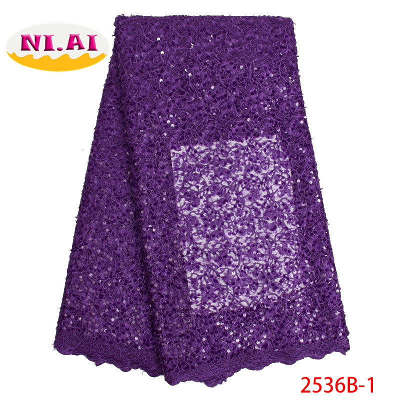 Nigerian French Lace 2019 Dress Fabric Evening Purple Nigerian Lace Fabric Sequin Lace MR2536B