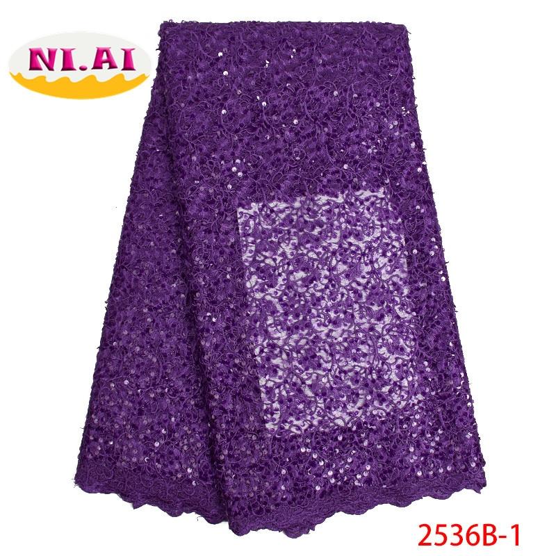 Nigerii francuski 2019, sukienka tkaniny bankiet Purple, nigerii koronki tkaniny cekiny koronki MR2536B w Koronka od Dom i ogród na  Grupa 1