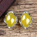 925 Серебряные Природные камни серьги Стержня для женщин aros халцедон желтый Pendientes мода уха клип интернет-магазины индии