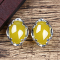 925 Silver Natural stones Stud earrings for ladies aros chalcedony yellow Pendientes fashion ear clip online shopping india