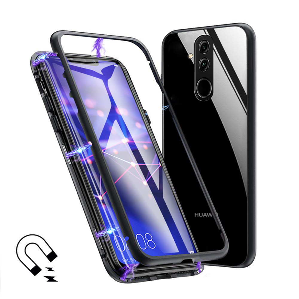 360 Magnetic Flip Cases For Huawei Mate 20 Lite Metal Border Case Tempered Glass Back Magnet Cover For Huawei Mate 20 Lite