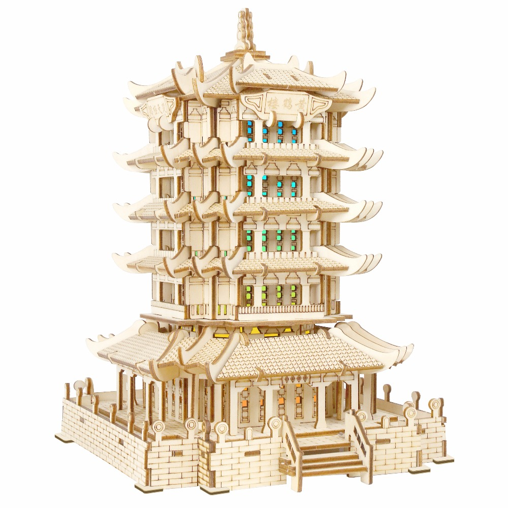 Yellow Crane Tower atmosphere night light Kids toys 3D Puzzle wooden toys Wooden Puzzle Educational toys for Children coeus 3d wooden puzzle the beautiful world the wedding chapel educational games for kids 3d puzzles for adults