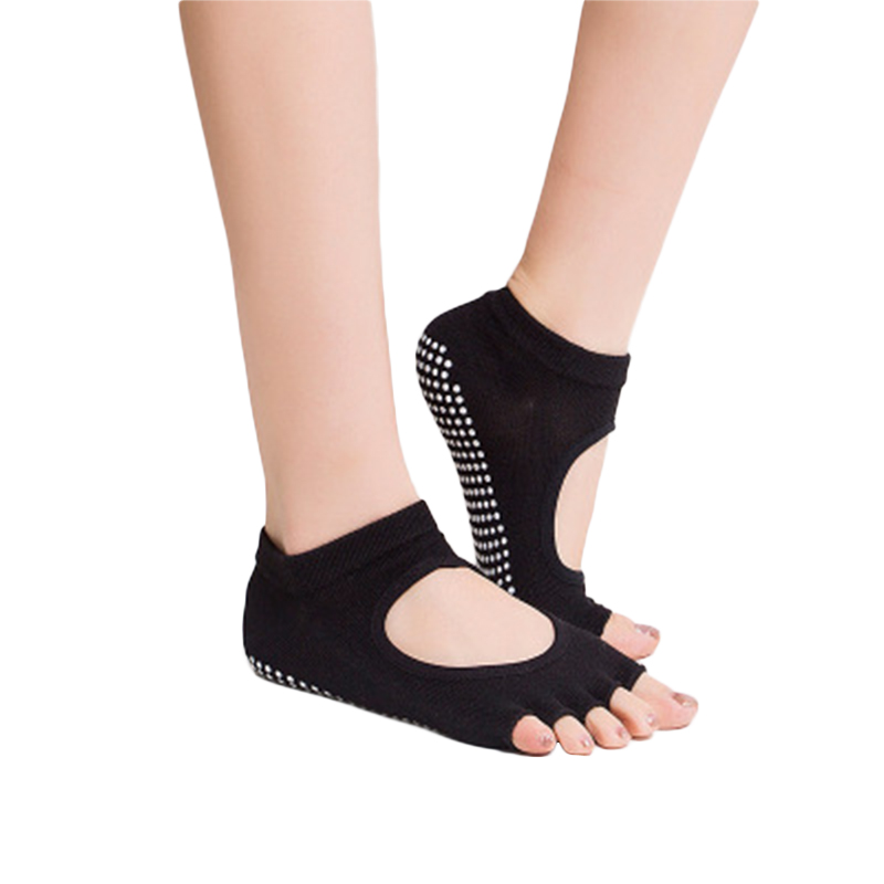 Ladies Fashion Cotton Yoga Socks Sports Non-slip Silica Gel Five Toes Socks Women Belly Dance Ballet Dance Half Toe Design Socks