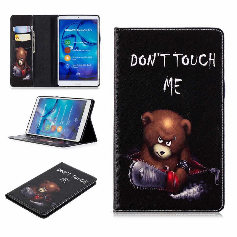 עבור Huawei MediaPad M5 8 תלת לקפל עור דפוס דפוס מעמד מתקפל Tablet Folio Case עבור MediaPad M5 8 8.4 אינץ