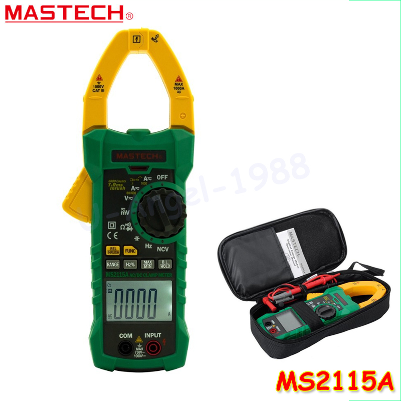 Mastech MS2115A 6000 Counts True RMS Digital Clamp Meter AC/DC Voltage Current Tester with INRUSH and NCV Measurement mastech ms2001c digital clamp meter ac dc voltage tester detector with diode and backlight