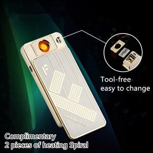 Image 3 - Sollievo Scheletro Accendino Ricaricabile USB Elettrico Sostituzione Filo Accendisigari Antivento Calore Turbo Accendino Rilievo Oro