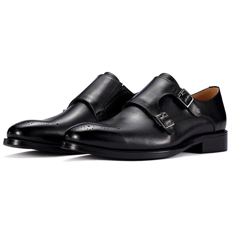 3814eb5c20 Hombres Vestido Aumento La Altura Boda Correas Dos Cuero Nuevo Black De  vino Brown Zapatos caqui Hebilla Monje ...