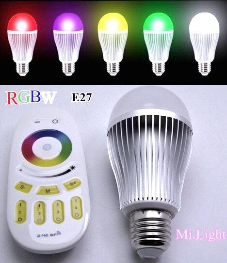 Mi Light 2.4G AC85-265V E27 9W Wifi wireless RGBWW/RGBCW LED bulb light E27+Mi Light 2.4G Remote Controler mi yeelight интеллектуальная лампа 9w e27 винтовая основа энергосберегающее беспроводное управление wifi
