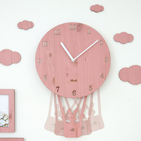 4 Colors Pink Carton Kids Room Cheap Wall Clocks Unique Balloon Watches for Home Living Room Decor Children Gifts Wall Watches
