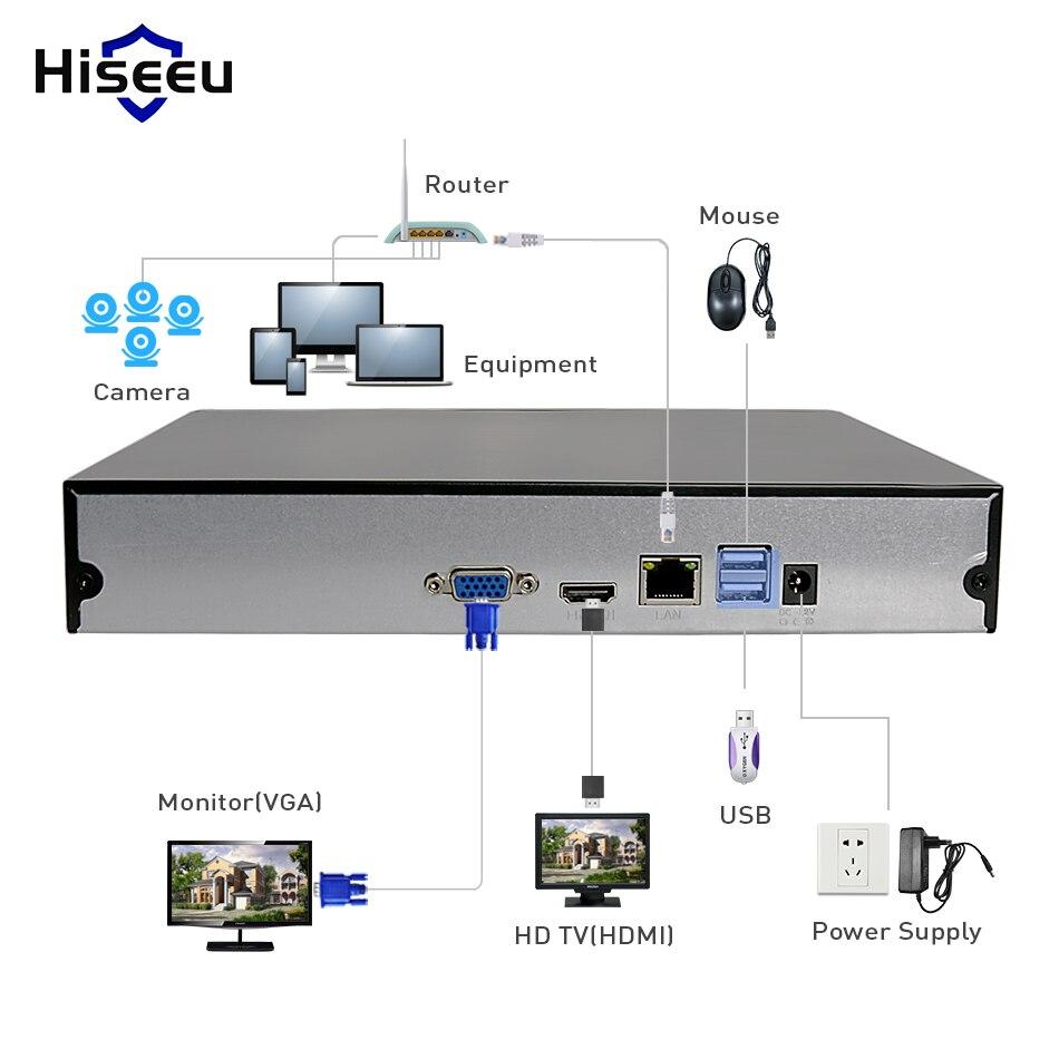 Hiseeu H.265 HEVC 8CH 16CH CCTV NVR para 5MP/4MP/3MP/2MP ONVIF 2,0 cámara IP de metal grabador de vídeo en red P2P para sistema de cctv - 5