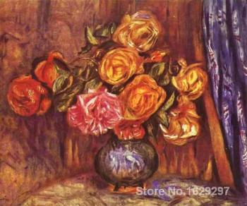 large oil paintings for sale Roses Before the Blue Curtain Pierre Auguste Renoir canvas art Handmade High Quality