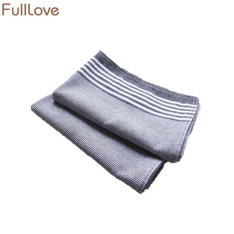 FullLove 50*70cm 2PCS/Set Nordic Cotton Kitchen Towels Black & White Stripes Plaid Table Cover Placemat Dish Towel Home Textile