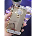 Роскошные Зеркало Телефон Случаях Металл Палец Кольцо Жесткий Чехол Для Apple iPhone 6 6 s 6 Плюс Задней Обложки для iPhone 7 Телефон Мешки Ca5221