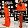 Beyonce Red Carpet A-line One-shoulder Half Sleeve Orange Floor-length Celebrity Maternity Evening Gown Pregnant Prom Dress