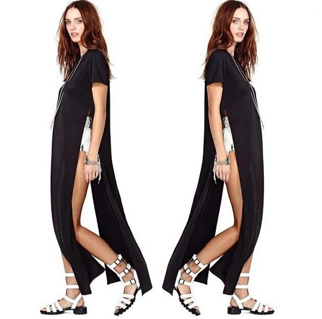 db703393e7e95 Hot 2015 Women Shirt Dresses High Open Side Split Party Long Tee T Shirt  Tshirt feminine Summer Maxi Casual Dress Club Outfit-in Dresses from Women's  ...