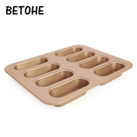 BETOHE Gold Non stick Cake Mold 3 Types Burger Loaf & Love Cake & Cup Cake Mold Oven Baking Mold