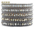 Lotus Mann Grey is a modern style four color crystal grey leather cord bracelet though