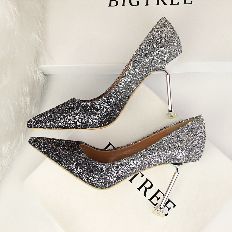 6689455ad Glitter Sexy High Heels For Women Cheap Prices Rose Gold Pumps Shimmering  Golden Glitter Shoes Pull On Pointed Toe Heels Pumps-in Women s Pumps from  Shoes ...