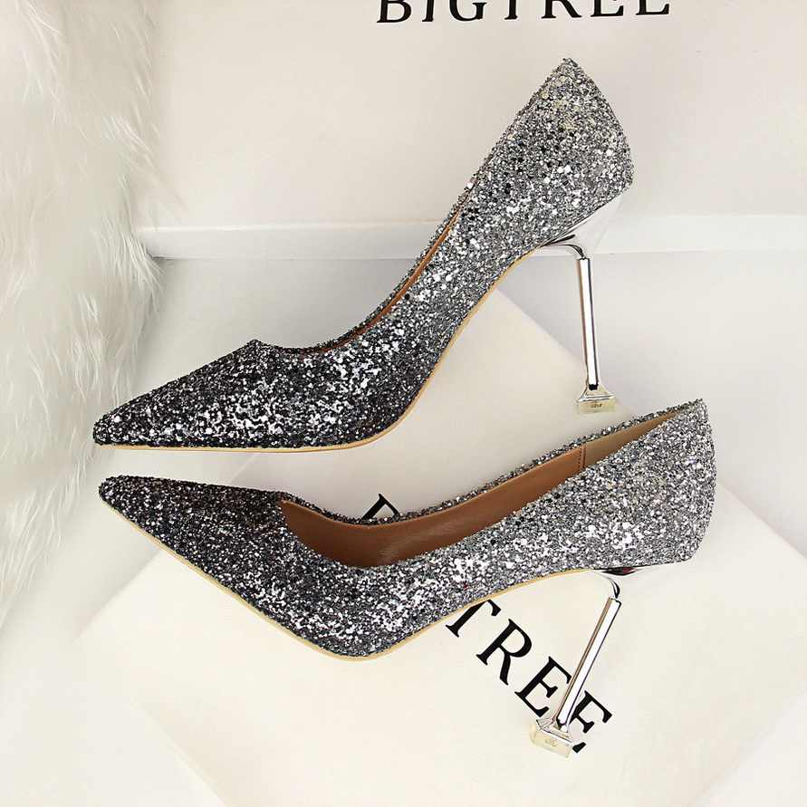 ... Glitter Sexy High Heels For Women Cheap Prices Rose Gold Pumps  Shimmering Golden Glitter Shoes Pull ... 72655f31939e