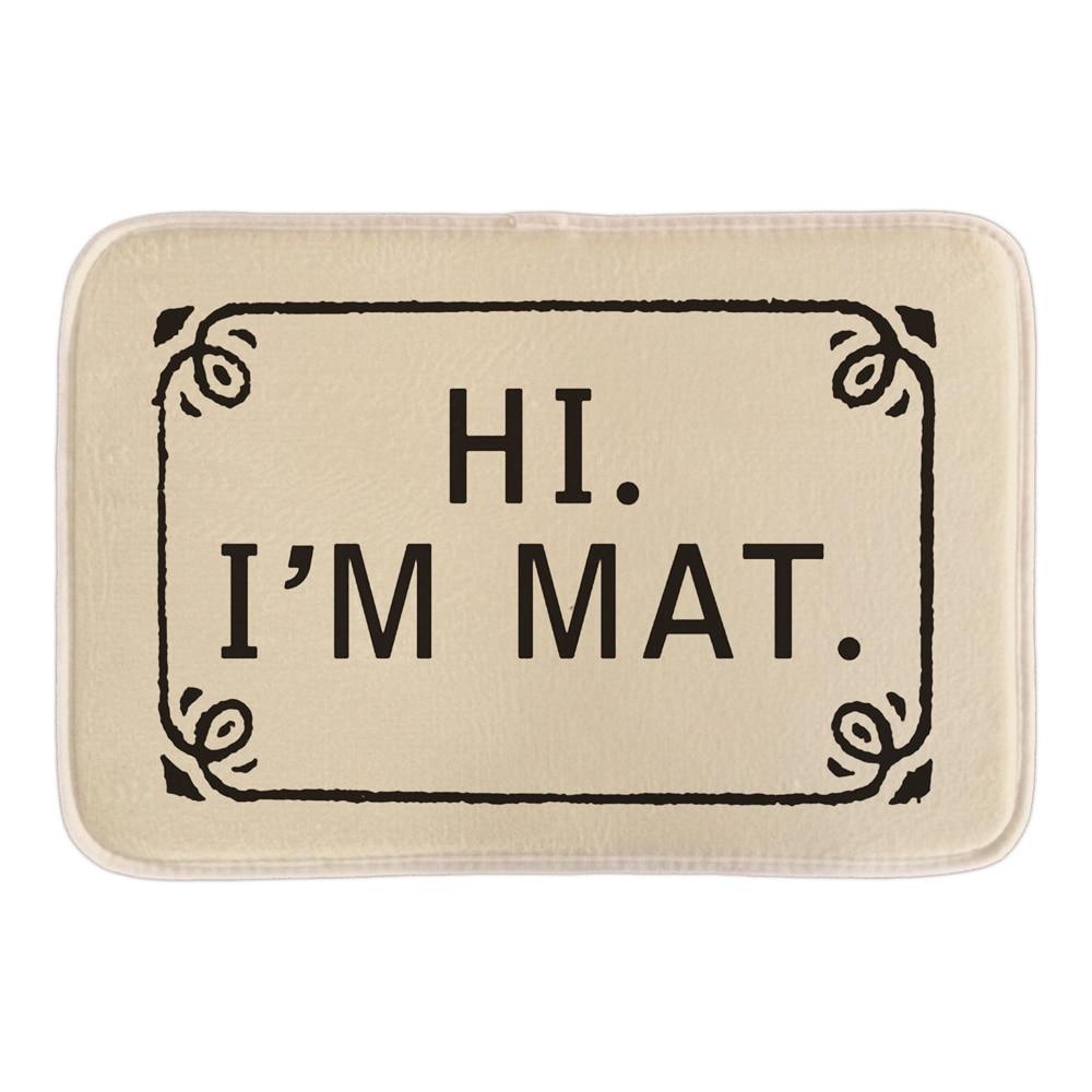 Funny bathroom rugs - Funny Welcome Doormat With Hi I M Mat Home Decorative Outdoor Indoor Door Mats Bathroom