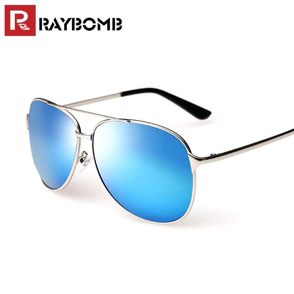 RAYBOMB High quality aviation men polarized sunglasses classic Metal Frame Sun glasses Brand Designer Male Mirror coating lens