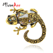 MloveAcc Vintage Vivid Lizard Brooch Abalone Shell Animal Brooches for Scarf font b Sweater b font