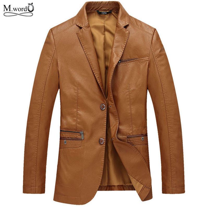 Mwxsd brand casual men PU leather Jacket mens blazer leather jackets coat jaqueta chaqueta hombre m-4xl